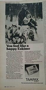 1975 Tampax Tampons still like happy Eskimo Husky Malamute dogs ad