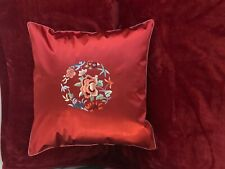 """Chinese Cushion Cover Red Silk and Satin Embroidery Flower 18"""" x 18"""" (45 cm)"""