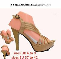 Womens Peep Toe Platform Stiletto Ladies High Heel Party Shoes Size UK 4-9