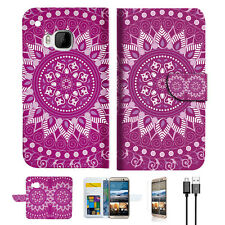 Purple AZTEC TRIBAL Wallet Case Cover For HTC One M9 -- A003