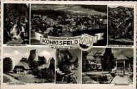 KÖNIGSFELD Schwarzwald ~1950/60 Mehrbild-AK ua. Ruine Waldau und Luftaufnahme