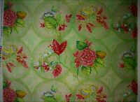 Floral Rose quilt fabric cotton 2 yds Green PInk Tracy Porter Geometric Circles