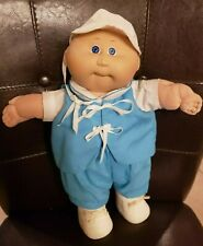 "1985 Cabbage Patch Baby Boy 14"" Doll Original Blue Outfit & Hat Diaper Shoes"