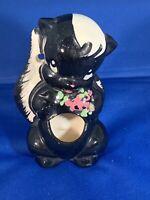 """Vintage """"DE-STINKER"""" Ceramic Skunk Matchstick Holder By DeLee Art - California"""
