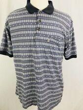Penguin Sport Mens Polo Shirt XL Short Sleeve Blue Pattern Golf Casual (Q