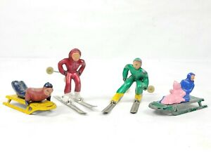 4x Vintage Barclay Skiier, Sled Toboggan Lead Figure Child Winter Snow Sport