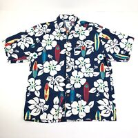 Vintage Mens Large Hawaiian Shirt Button Front Short Sleeve Surf Board Hibiscus