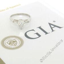Vintage Platinum 1.48ctw GIA Heart Brilliant & Baguette Diamond Engagement Ring