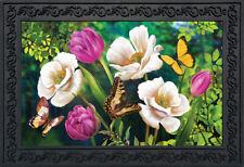 """Butterflies And Poppies Spring Doormat Floral Indoor Outdoor 18"""" x 30"""""""