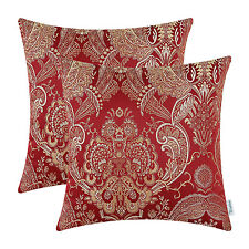 Set of 2 Burgundy Cushion Cover Pillow Shell Cases Home Jacquard Florals 45x45cm