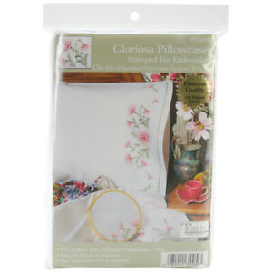 """Tobin 23093 Stamped Pillowcase Pair For Embroidery 20""""X30""""-Gloriosa"""