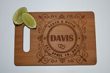Cutting Board - Personalized Engraved Bamboo, Wedding Gift, Bride and Groom