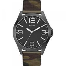 Reloj De Hombre GUESS W0181G5 Camouflaje Militar Cuero Oversize Negro DD