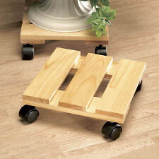 Wooden Rolling Flower Pot Stand  Plant Cargo Moving Caddy Dolly Planter Holder