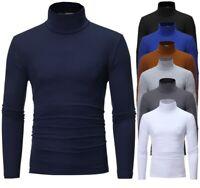 Winter Warm Mock Neck Basic Plain T-shirt Blouse Pullover Long Sleeve Men's Tops