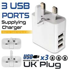 New 3 USB Multi Ports White Power AC Travel Wall Charger Adapter UK Plug Mobiles