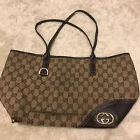 Authentic Gucci Shoulder Bag Tote GG Canvas Monogram USED Women Purse G0141