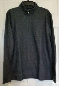 NEW CROFT & BARROW Men's Navy Blue Textured Fleece Quarter-Zip Pullover Size XL