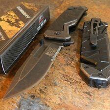 MTech Xtreme BLACK G10 Spring Assisted Tactical Serrated Folding Pocket Knife