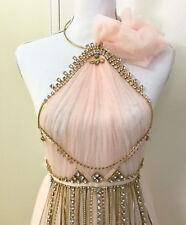 Handmade Champagne Flower Drop Backless Dress