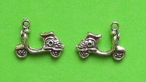 15X 3D Vespa, Motorbike, Scooter Tibetan Silver Charm Pendant Jewellery Making