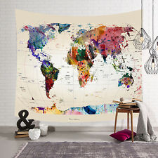 World map Indian Tapestry Wall Hanging Mandala Throw Hippie Gypsy Bohemian UK
