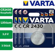 3 x Varta CR 2430 3V Lithium Batterie Knopfzelle 290mAh 6430 im Blister
