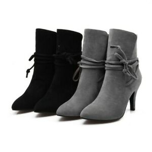 Womens Strappy Ankle Boots Ladies High Heels Pointed Toe Western Boots Plus Size