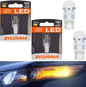 Sylvania ZEVO LED Light 194 Amber Orange Two Bulbs Front Side Marker Replace OE