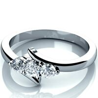 White Gold 0.25Ct Round Diamond Trilogy Engagement Ring