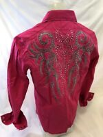 Mens HOUSE of LORDS Button Down Shirt TRIBAL CROSS HOT PINK Roar W Class HL1169