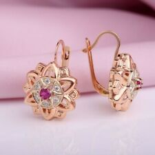 Russian solid rose gold 585 /14k lab corundum ruby earrings vintage style  NWT