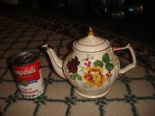 Vintage Sadler England Teapot-Painted Roses-White Ribbed W/Gold Trim-LQQK
