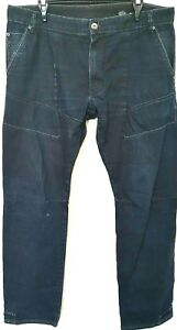 Tarocash Mens Blue Denim Zip Fly Distressed Patches Straight Jeans Size 38