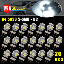 20 X G4 Pure White 5 LED SMD 5050 RV Camper Marine Boat Light Bulb Lamp 12V US