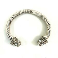 """Silver Tone Twisted Ribbed Texture Rhinestone End Caps Cuff Bracelet 6"""" Long"""