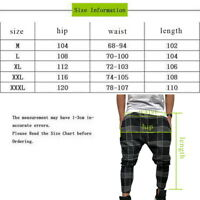 Men's Long Printed Pants Casual Slim Fit Plaid Trousers Sports Joggers Pants LO