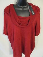 Apt. 9 Polyester Plus Size 0X Red SS Solid Cowl Neck Lurex Sweater SR $44 NEW