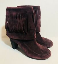 Born Banbury Boots 6 Chianti Suede Fringe Short Boots Burgundy Boho Moccasin New