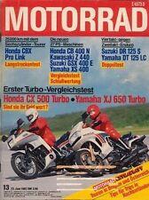 M8213 + Vergleich HONDA CX 500 Turbo vs. YAMAHA XJ 650 Turbo + MOTORRAD 13/1982