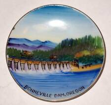 """Vtg miniature Porcelain Plate BONNEVILLE DAM, OREGON Souvenir Hand Painted 4"""""""