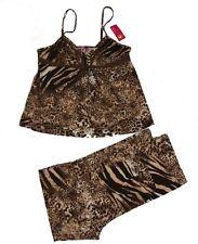 BUMBLE B Leopard Cheetah Zebra Pants & Cami Set Pajamas NWT MSRP $48 Wms M NICE