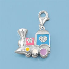 Dream Toy Train Charm Pendant Sterling Silver 925 Child Jewelry Gift 14 mm