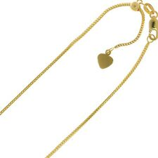 """0.5mm Solid Adjustable Franco Chain Necklace REAL 14K Yellow Gold Up To 22"""""""
