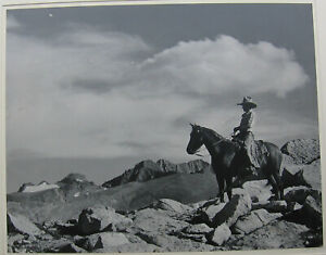 RARE 1930 one of a kind ANSEL ADAMS signed photograph Cowboy on a Horse b&w