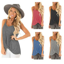 Women Sleeveless Twist Knot Tank Tops for Strap Camisole Casual V Neck Shirts