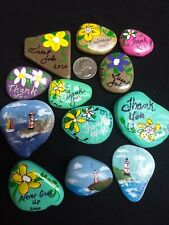 "HAND PAINTED ROCKS STONES LOT of  12 ""thank you"" messages,individually wrapped"