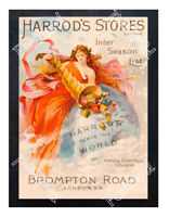 Historic Harrod's Stores, Brompton Road, London Advertising Postcard