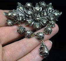 Artdeco estate 5.27cts Rose Cut Diamond 925 Sterling Silver Brooch Pin Jewelry