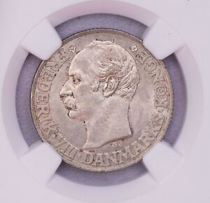 NGC-MS63 1907 DANISH WEST INDIES 20CENTS SILVER TONED BU